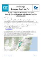 Projet Flash Info Travaux route du port février 2020