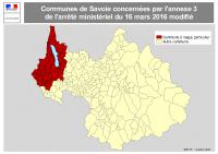 Carte des communes IAHP en Savoie